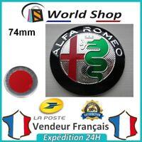 Embleme Capot / Coffre Alfa Romeo 74mm Métal sigle emblem badge logo  TB noir