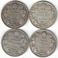 4 X CANADA TWENTY FIVE CENTS QUARTERS KING GEORGE V 800 SILVER COINS 1929 - 1932