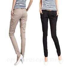 Straight Leg Cotton Low Rise Regular Size Trousers for Women