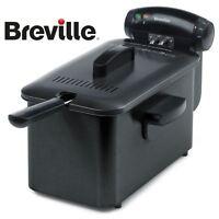 Breville Stainless Steel Home 3L Oil 1kg Crispy Food Deep Fat Fryer VDF112 Black