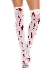HALLOWEEN STOCKINGS Over the Knee White with Red Blood Splats Socks + Hosiery