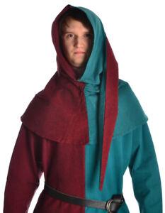 Mittelalter Gugel Etzel aus Baumwolle Rot-Grün, Rot-Blau, Blau-Grün LARP   HEMAD