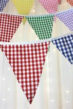 Fabric bunting - pick your length - Multi coloured Gingham, Wedding, Baby shower