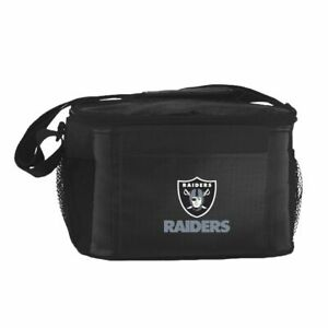 Las Vegas Raiders Cooler Zipper Insulated Lunch Bag Box Tote 6 Pack NFL