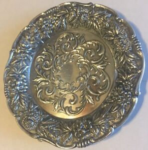 Vintage S Kirk &Sons Sterling Silver Floral REPOUSSE Bread And Butter 27F Plate