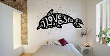 Wall Room Decor Art Vinyl Sticker Mural Decal Love Dolphin Sea Animal Cool FI735