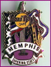 Hard Rock Cafe MEMPHIS 1997 OPENING STAFF OS PIN Guitar & Saxophone - HRC #5562