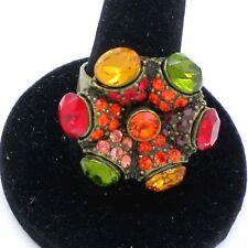 Bague Fantaisie  - Vintage 70's - Fleur Hippie Multicolore (BAG-014)