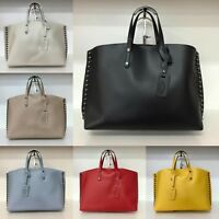 'NEW' Smooth Leather Studded Tote/Shopper/Hand Bag Large Real Italian Leather