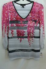 2X Style & Co Woman Pink Top/Shirt with see through sleeves & overlay look NWT!