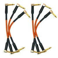 """6"""" Angled Electric Guitar Bass Effects Pedal 1/4"""" Patch Cable 3-Pack Orange Pair"""