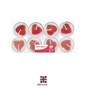 8pk Red Glitter Heart Tea Light Candles Valentines Day Romantic Decoration P7086