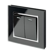 RetroTouch Crystal Glass 2 Gang 1 or 2 Way On/Off Light Switch Black CT 00221