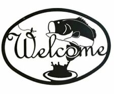 Wrought Iron Welcome Sign Bass Silhouette Fish Fishing Cabin Hunting Wall Decor
