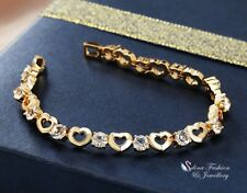 18K Yellow Gold Filled Simulated Diamond Round Charming Heart Tennis Bracelet
