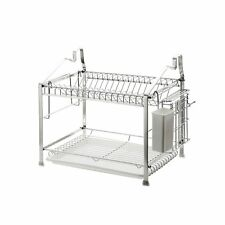 Home Stainless Steel 2-Tier Dish Drying Rack Kitchen Storage
