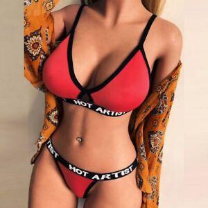 Women Letter Underwear Set Print Lingerie Nightwear G-String Bra Thong Briefs