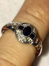 14k Solid white gold Natural Diamond & Sapphire 0.36 ct size 6