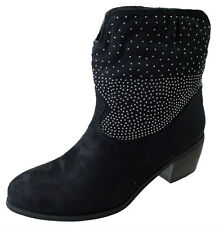 Ladies Black Faux Suede Studded Slouch Cowboy Ankle Boots Heel Shoe Women UK 4-8