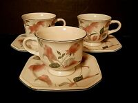 Mikasa Continental Silk Flowers Footed Cups & Saucers Pink Flowers--Lot of 3!!