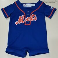 MLB New York Mets Baseball Blue Stitched Baby Romper Jersey Outfit Sz 12 MOS