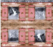 3 SERVIETTES EN PAPIER VACHE MONTAGNE CHALET. PAPER NAPKINS COW MOUNTAIN COTTAGE
