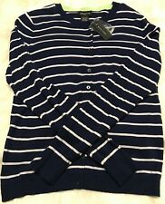 Lord & Taylor Navy & White Striped Button Long Sleeve Cardigan Size Medium