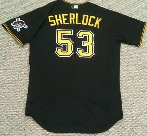 SHERLOCK size 46 #53 2020 PITTSBURGH PIRATES Black alt game Jersey issued MLB