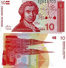 CROATIA 10 Dinara Banknote World Paper Money UNC Currency Pick p-18 R. Boskovic
