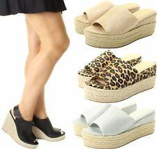 Womens Ladies Flat Wedge Espadrille Mule Sandals Slip On Platform Summer Shoes