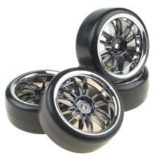 4PCS Hard Tires Tyres + Plastic Black 12-Spoke Wheel Rims for RC 1:10 Drift Car
