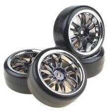 4PCS Hard Tires Tyres + Plastic Black 12-Spoke Wheel Rims for RC 1:10 Drift Car