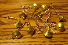 #10 Ten  Brass Tie Backs with Copper Safety Chain Replacement Jewelry Findings