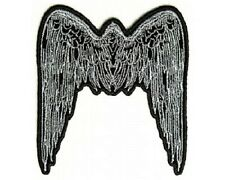 "(ZDO) Large SILVER ANGEL WINGS 8"" x 9"" iron on back patch (2610D) Biker"
