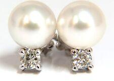 █$3000 8.5mm natural tahitian pearls .28ct diamonds earrings 14kt g/vs