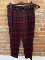 NEXT WOMENS RED & BLACK CHECKED TROUSERS WITH BELT  SIZE: 12R  BNWT RRP £34