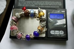 QG 925 Sterling Silver Charm Bracelet with 21 Pink Floral & Art Glass Charms