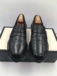 Brooks Brothers Penny Loafers Moc Toe Black Leather Shoes Size 8.5 Made in USA