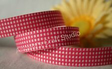 "1 Metre PINK / WHITE GINGHAM 16mm (5/8"") Grosgrain Ribbon - Hair Bow Sew Trim"