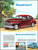 1947 Families Picnic park Plymouth Car Chrysler autos retro art print ad L71