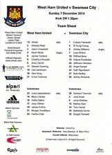 Teamsheet - West Ham United v Swansea City 2014/15