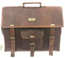 Men Vintage Genuine Logo Leather Business Briefcase Messenger Shoulder Bag