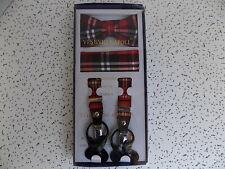 Vesuvio Napoli 3-piece-set, suspenders, bow tie, & pocket hanky set, red plaid