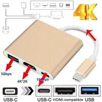 Type C USB 3.1 to USB-C 4K  USB 3.0 Adapter Cable 3 in 1 Hub For Macbook Re