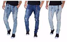 ETZO  Mens biker Slim Fit jeans premium Ripped Distressed denim (J7552)