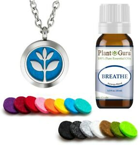 Essential Oil Diffuser Necklace Pendant Aromatherapy Set With Breathe Blend