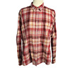 Wrangler Blues Womens XXL Western Shirt Relaxed Cotton Plaid Snap Front LS Red