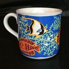 Coffee Mug Cup Tropical Fish Aquarium Colorful & Bright Blue White