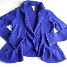 Chicos Womens Sweater Size 0 Small Blue Peplum Ruffle Long Sleeve Coverup