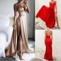 Sexy Womens Solid High-Split Dress Maxi Dress Evening Party Clubwear Long Dress